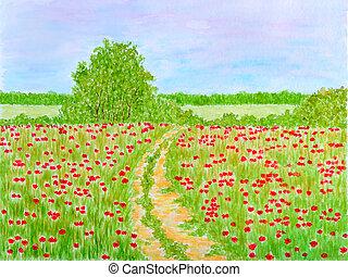 flores, país, aquarela, verão