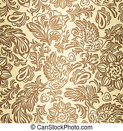 flores, padrão, barroco, pássaros, ouro