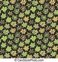 flores, padrão, verde, simples
