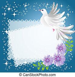 flores, paloma, plano de fondo
