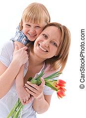 flores, para, mamá