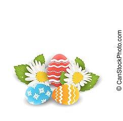 flores, pascua, colorido, espacio, texto, huevos, camomiles...