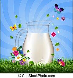 flores, pasto o césped, jarra, leche