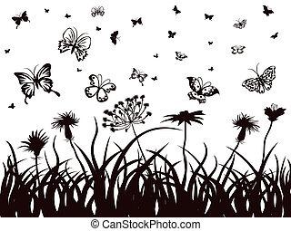 flores, pasto o césped, mariposas