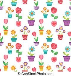 flores, patrón, ollas, seamless