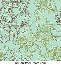 flores, patrón, papel pintado, seamless