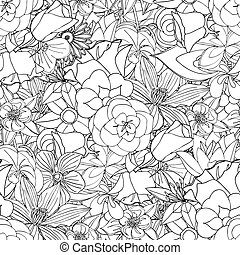 flores, pattern., seamless
