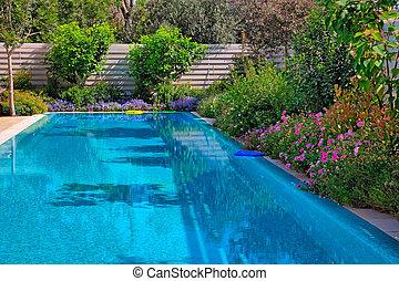 flores, piscina, natação