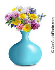 flores, pradera, florero