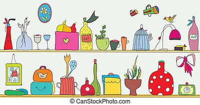 flores, prateleira, utensílios, cozinha, engraçado