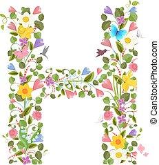 flores, primavera, florido, carta, capital, fuente, el...