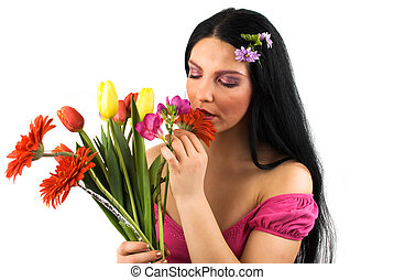 flores, primavera, mujer
