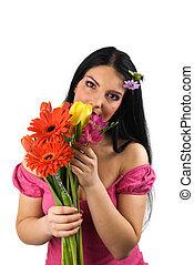 flores, primavera, mujer, solo