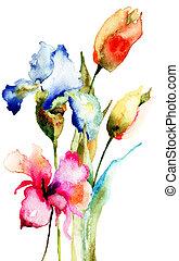 flores, primavera, original
