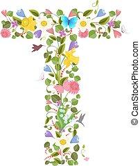 flores, primavera, ornate, letra, capital, fonte,...