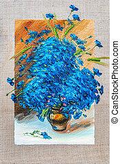 flores, quadro, óleo, tintas, ligado, um, lona