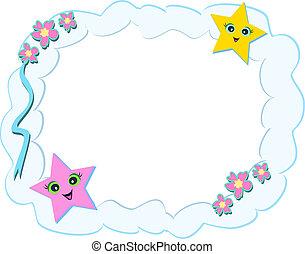 flores, quadro, estrelas, nuvens