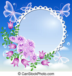 flores, quadro fotografia, céu, borboletas
