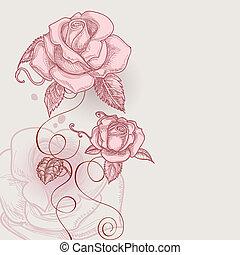 flores retro, romántico, rosas, vector, ilustración