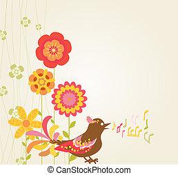 flores retro, y, pájaro