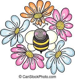 flores, rodeado, abeja