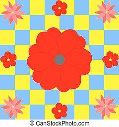 flores rojas, en, amarillo, azul, cuadrados