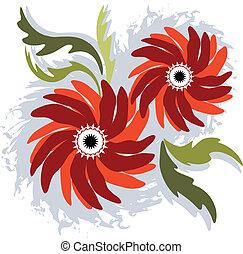 flores, rojo