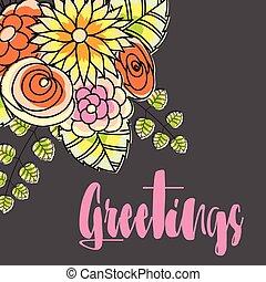 flores, saludo, plantilla, florido