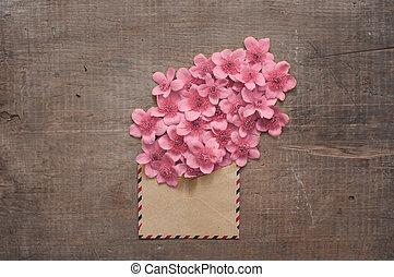 flores salvajes, en, el, vendimia, sobre