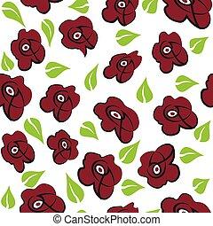 flores, seamless, fundo, vermelho