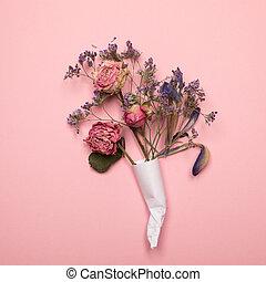 flores, secado, tarjeta