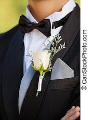 flores, sección, medio, macho, solapa