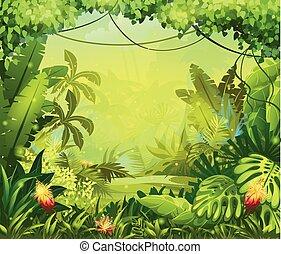 flores, selva, ilustração, vermelho