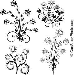 flores, silueta