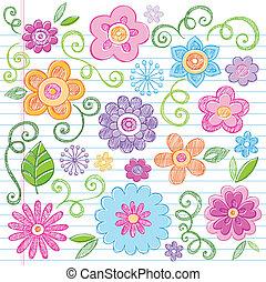 flores, sketchy, garabato, vector, conjunto