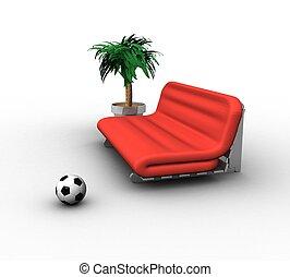 flores, sofá, pelota, plano de fondo, blanco, futbol, 3d
