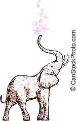 flores, soplar, elefante