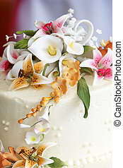 flores, torta de la boda