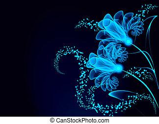 flores, transparente, estrellas