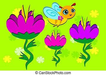 flores, tres, abeja