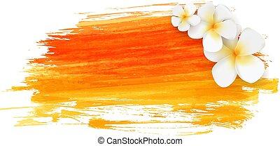 flores tropicais, escovado, fundo