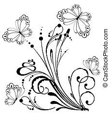 flores tropicales, con, mariposa