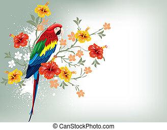 flores tropicales, loro