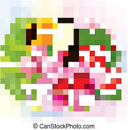 flores tropicales, y, un, tucán
