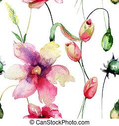 flores, tulips, padrão, seamless