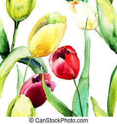 flores, tulips, papel parede, seamless
