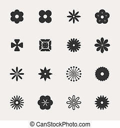 flores, vector, conjunto, icono
