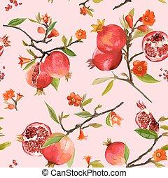 flores, vector, fondo., granada, floral, hojas, fruits., seamless, tropical, pattern.