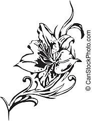 flores, vetorial, -