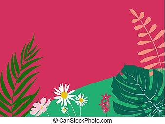 flores, vetorial, natural, fundo, ilustração